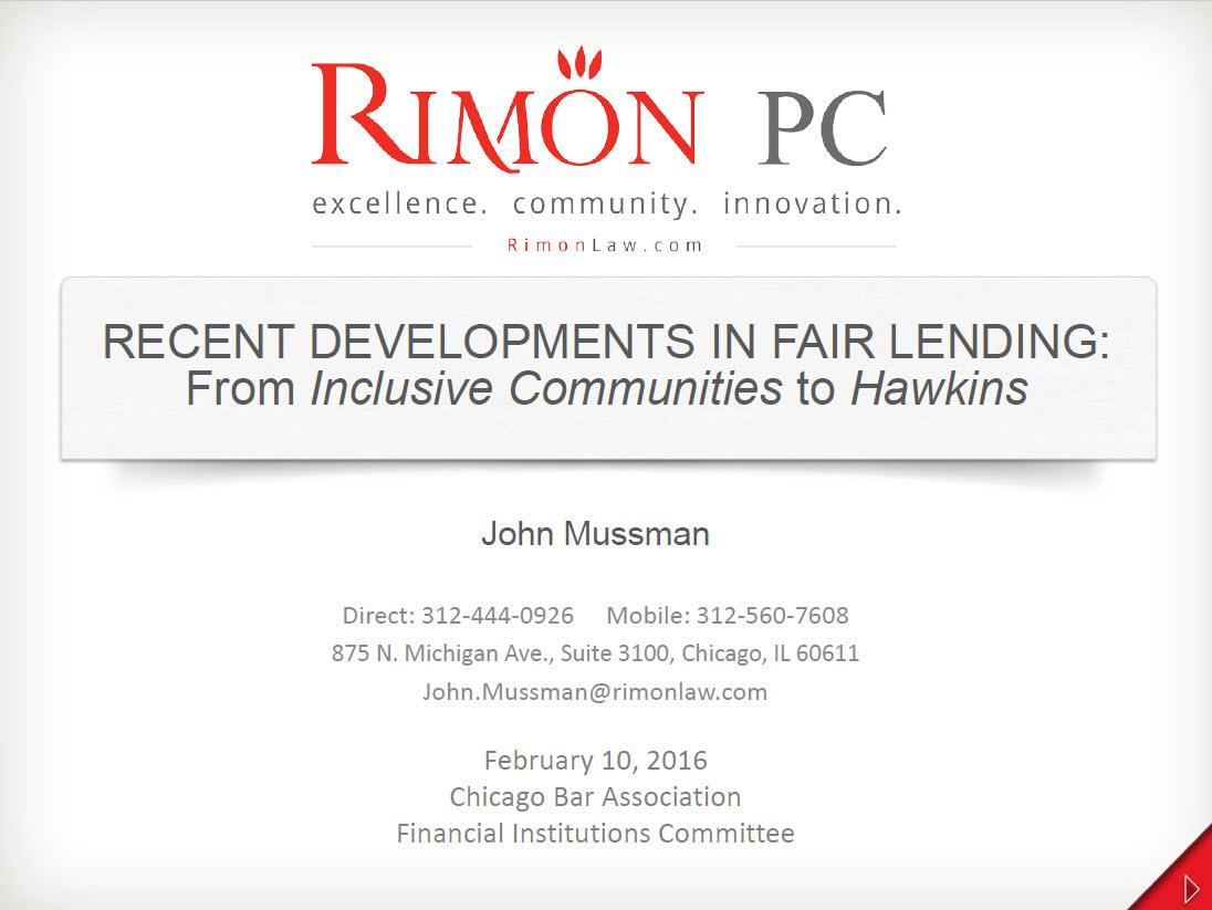 Recent Developments in Fair Lending